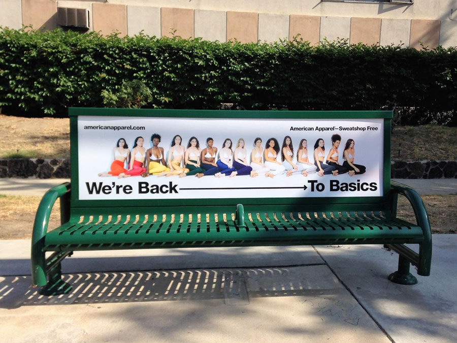 American Apparel Bus Bench Ad