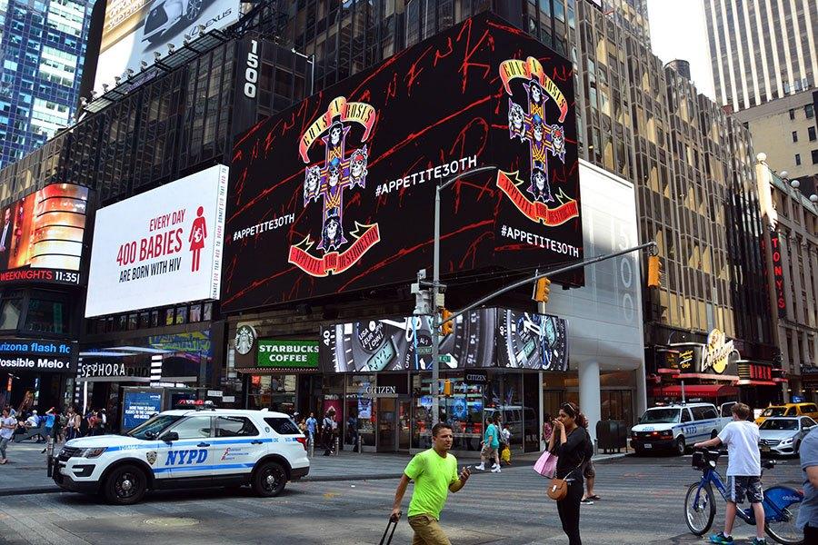 New York Digital Billboard Guns N Roses